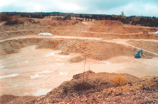 Abbau von Feldspat