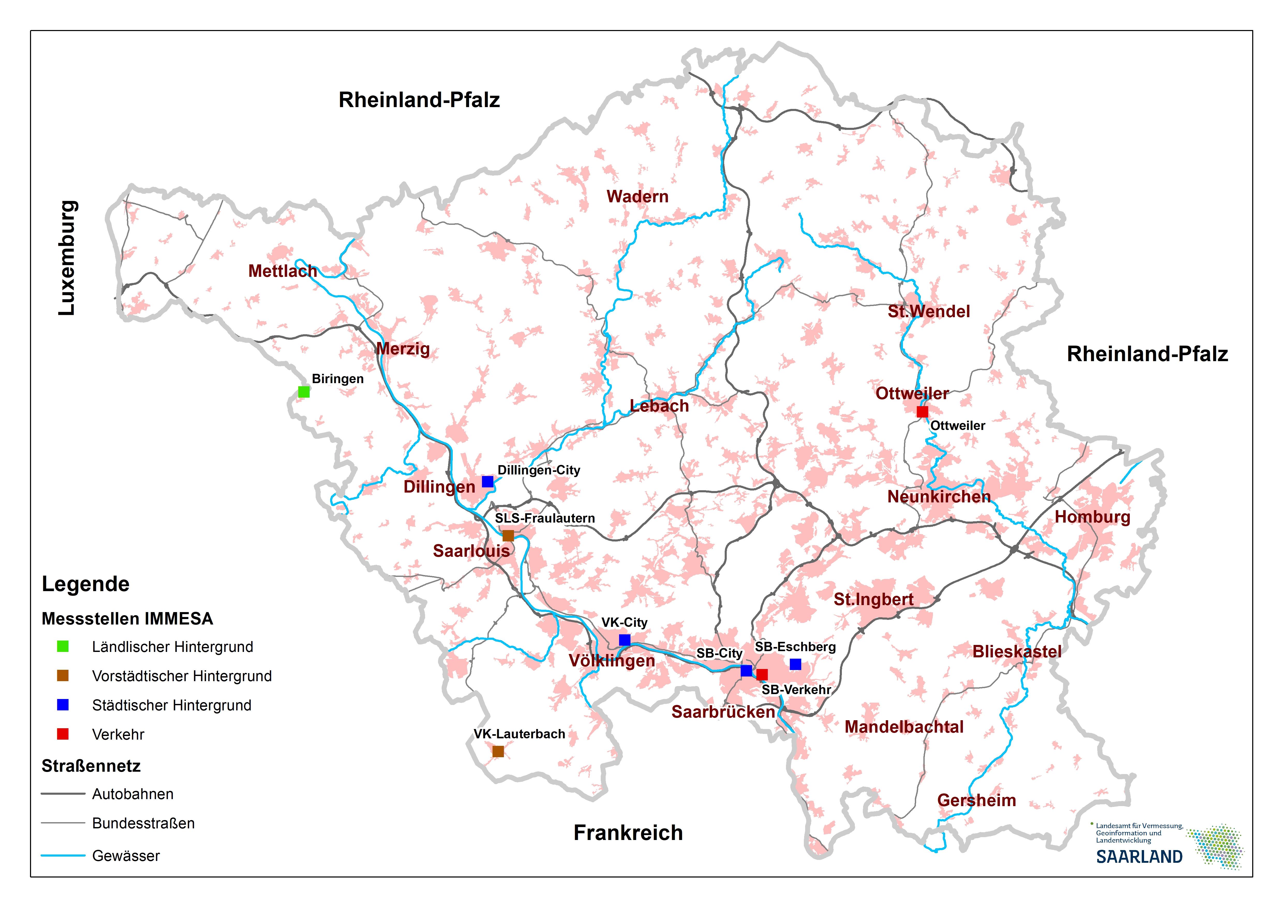 Übersichtskarte der IMMESA-Messstationen