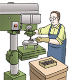 Illustration zeigt einen Mann bei der Arbeit an einer Maschine