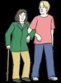 Illustration zeigt eine Frau mit Gehstock, die sich bei einem Mann beim Gehen eingehakt hat