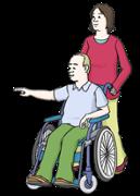 Illustration zeigt einen Rollstuhlfahrer, der von einer Frau geschoben wird