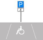 Illustration eines Behindertenparkplatzes