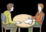 Illustration zeigt zwei Menschen, die an einem Tisch sitzen