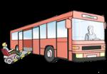 Illustration zeigt einen Rollstuhlfahrer, der über eine Rampe in einen Bus fährt