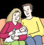 Illustration von Eltern mit Baby