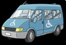 Illustration eines blauen Kleinbusses für Menschen mit Behinderung
