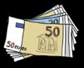 Illustration von vielen Geldscheinen