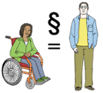 Illustration, die Gleichberechtiugung zwischen Mann und Frau und Mensch mit und ohne Behinderung darstellt
