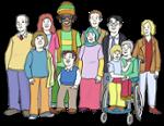 Illustration zeigt Gruppe mit Menschen mit und ohne Behinderung