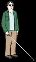 Illustration zeigt einen Mann mit einem Blindenstock
