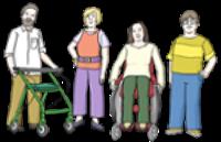 Illustration von  Menschen mit und ohne Behinderung