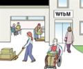 Illustration einer Werkstatt für behinderte Menschen