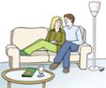 Illustration zeigt ein Paar im Wohnzimmer