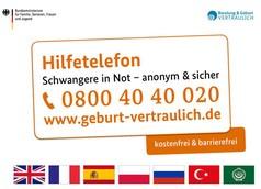 Das Bild zeigt die Telennummer für das Hilfetelefon für Schwangere in Not. Sie ist 0800 40 40 020. Diese Telefonnummer ist kostenlos und barriefrei.