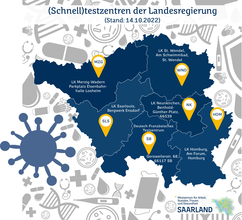 auf einer blauen Saarlandkarte sind die verschiedenen Testzentren markiert
