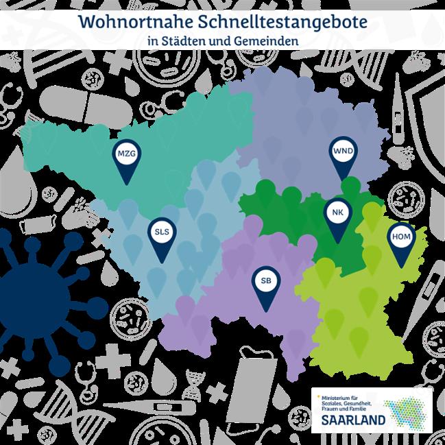 Saarlandkarte mit Markierung der einzelnen Kommunen