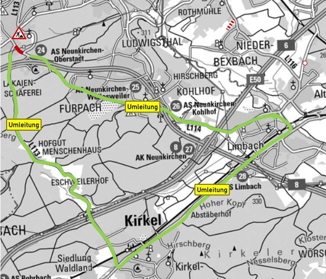 """Erneuerung Kreisel """"Kirkeler Straße"""" unter Vollsperrung"""